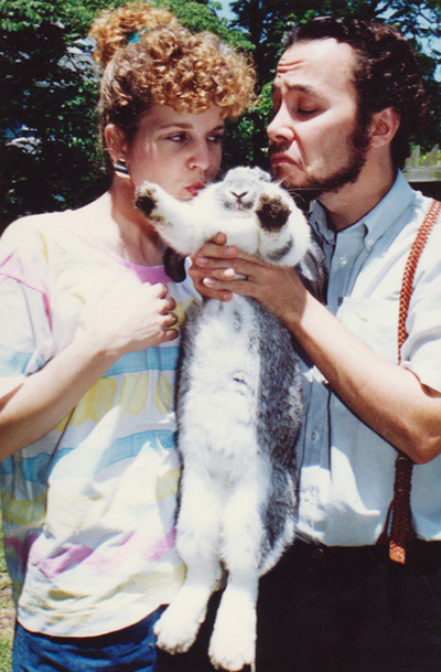 Janet Kile, Tim Brosnan and Georges the French Lop rabbit ... in happier times. (Click for larger version in new window.)