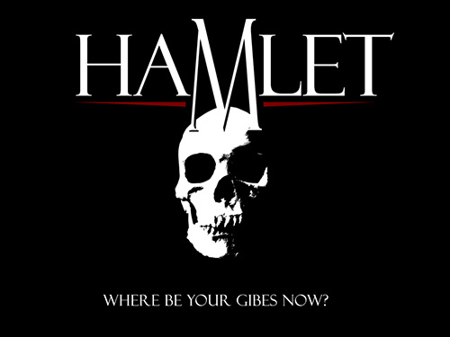 Proposed design for official show shirt for our production of Hamlet.  (Click image for larger version in new window.)