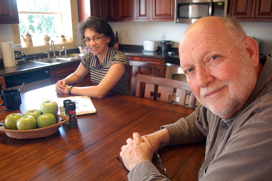 Buren Martin and his wife, Dottie Martin in the kitchen of the loft apartment they've built inside a former high school gymnasium (soon to be performance venue) in Inman, SC. (Click images below for larger versions.)