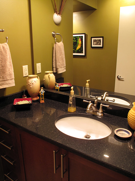 """""""Ebony Pearl"""" Silestone countertops were installed in both bathrooms last week. A company called Oldcastle did the job and I was most impressed with every aspect of their operation. (Click image for larger version.)"""