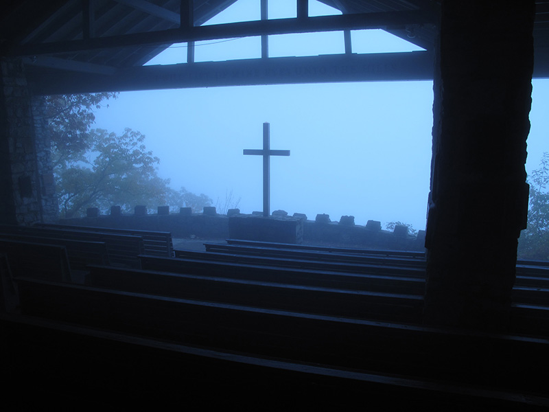 The mist rolled eerily across the wooden benches at Pretty Place Chapel this morning. (Click image for larger version.)