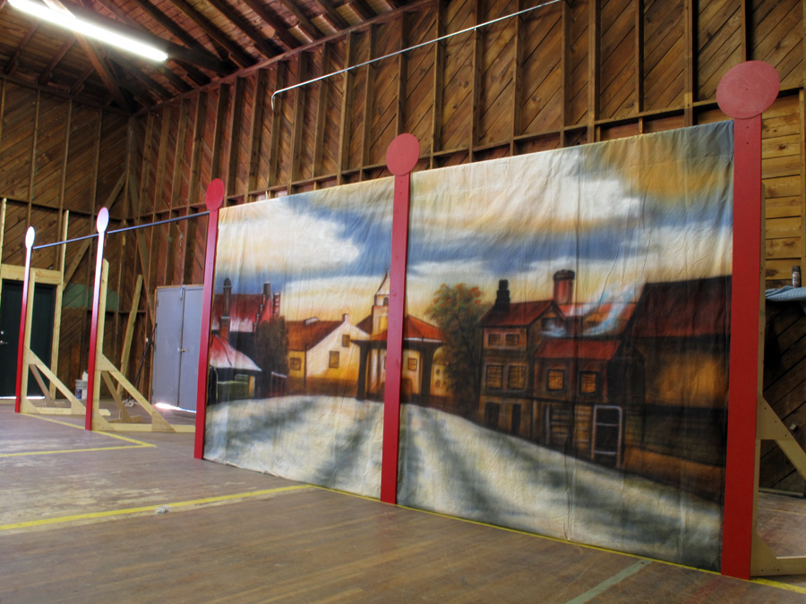 The Baillie Players' Christmas '09 tour will travel with a set of four (two shown) traditional backdrops held up by five eight-foot self-supporting stands.