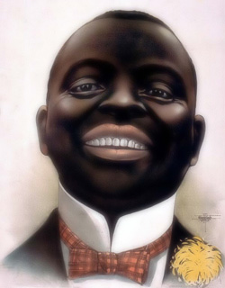 Caricature of a Smiling Negro, circa 1890, printed by the Courier Company of Buffalo, NY. Ol' time dar am not fo'gotten. Look away.