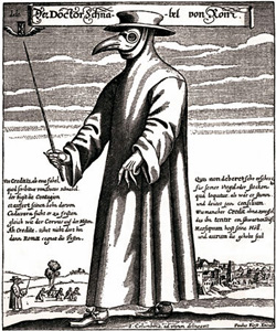 Doctor Schnabel von Rom, a 17th-century plague physician in protective clothing. Etching by Paulus Furst of Nuremberg, Germany, 1656.