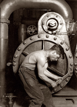 Powerhouse Mechanic and Steam Pump (1920) by Lewis Wickes Hine's
