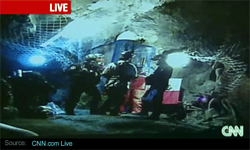 Half a mile down, miner #21 of 33 boards the rescue capsule Phoenix.