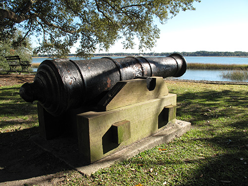 A cannon watches the water on Bay St. in Beaufort.