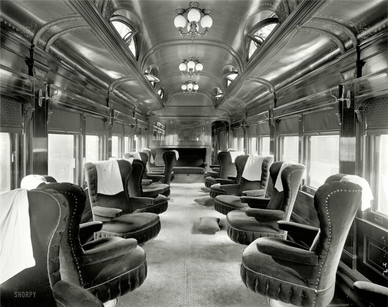 Pere Marquette Railroad parlor car No. 25, interior view, circa 1905. Getting there is supposed to be half the fun, isn't it?