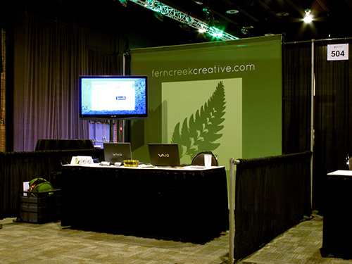 FernCreek's booth at the 2011 InnoVenture conference at the Carolina First Center in Greenville. We were the real deal.