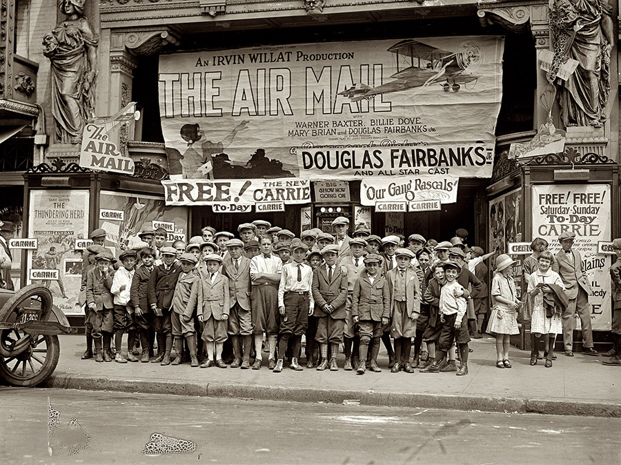 "1925. Sidney Lust's Leader Theater in D.C. Feedback at this screening of ""The Air Mail"" probably wasn't very constructive."