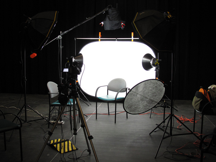 The portable video studio awaiting its first interview subject at its first location shoot. (Click image to up-rez.)