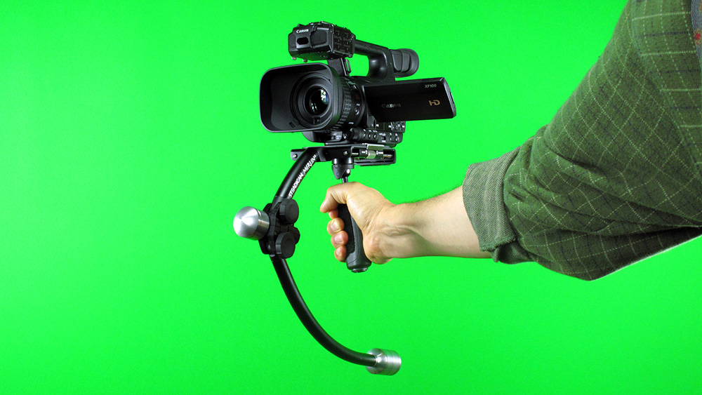 The Steadicam Merlin 2, balanced and ready for the Scottish Games parade.