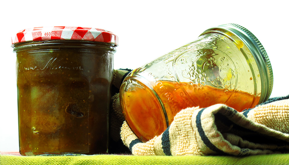 Fig preserves and peach butter.
