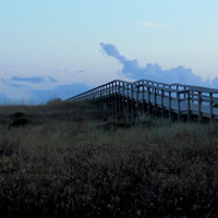 Boardwalks like this one at Pony Pen Beach straddle dunes along the Atlantic.