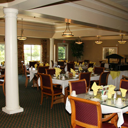 """A dining room at Glenwood Gardens, the """"prestigious"""" independent living facility in Bakersfield, CA."""