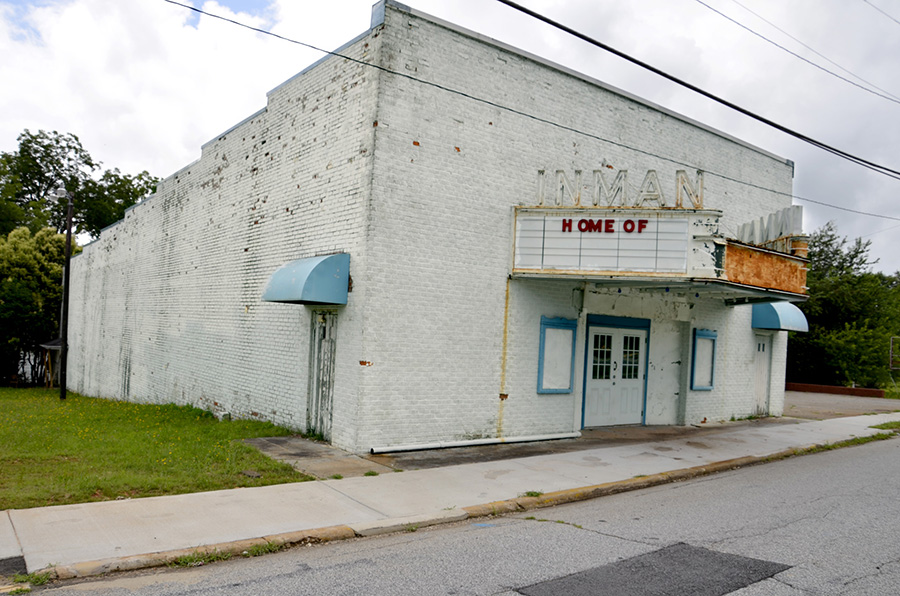 The historic Inman Theater. Back in the bad old days, that little door on the corner was for