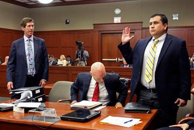George Zimmerman is sworn in.