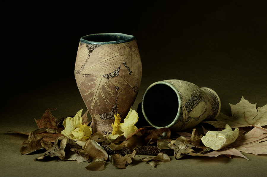Dried daffodil blossoms, a mule tooth, pressed leaves and leaves pressed into clay.