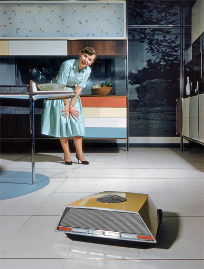 "1959. ""Anne Anderson in Whirlpool 'Miracle Kitchen of the Future,' a display at the American National Exhibition in Moscow."" Kodachrome by Bob Lerner for the Look magazine article ""What the Russians Will See."""