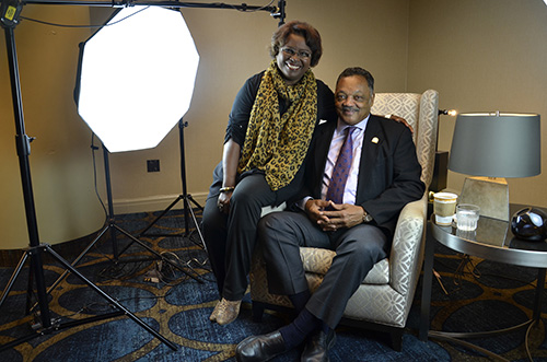 Interviewer Yvonne Reeder with Jesse Jackson at the Greenville Hyatt after our shoot on October 30.