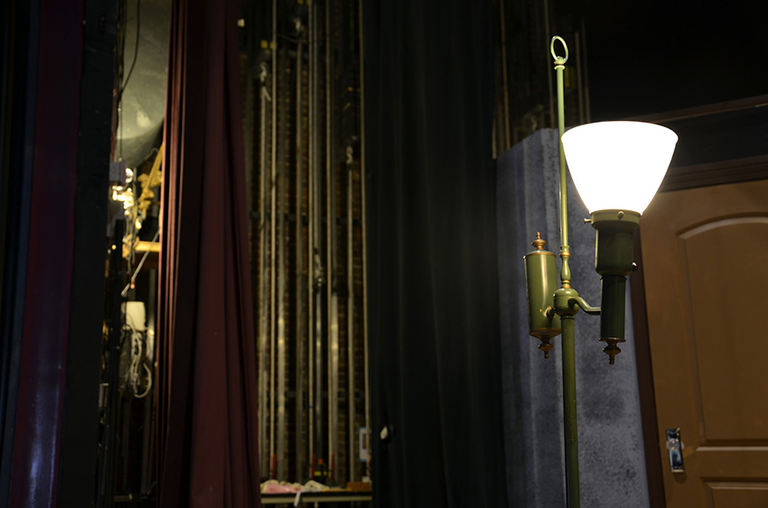 "Our ghost light during Temple Theatre's production of ""Sherlock Holmes and the Case of the Jersey Lily"""