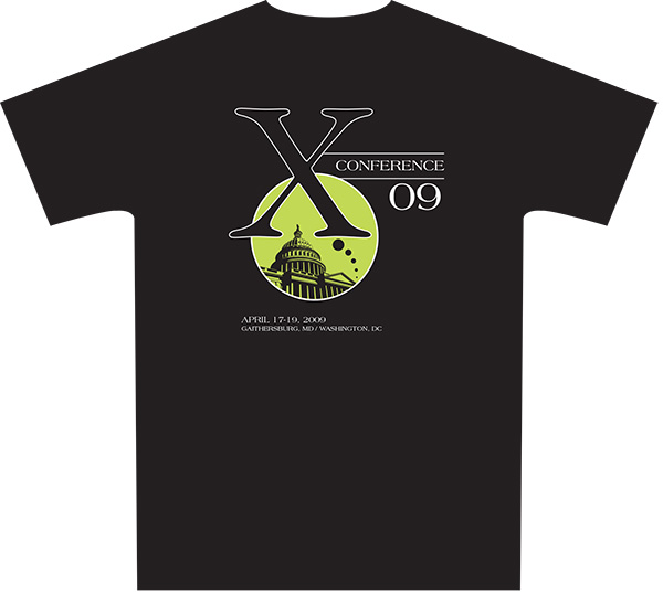 The official T-shirt of the 2009 X-Conference (Click for PDF proof)