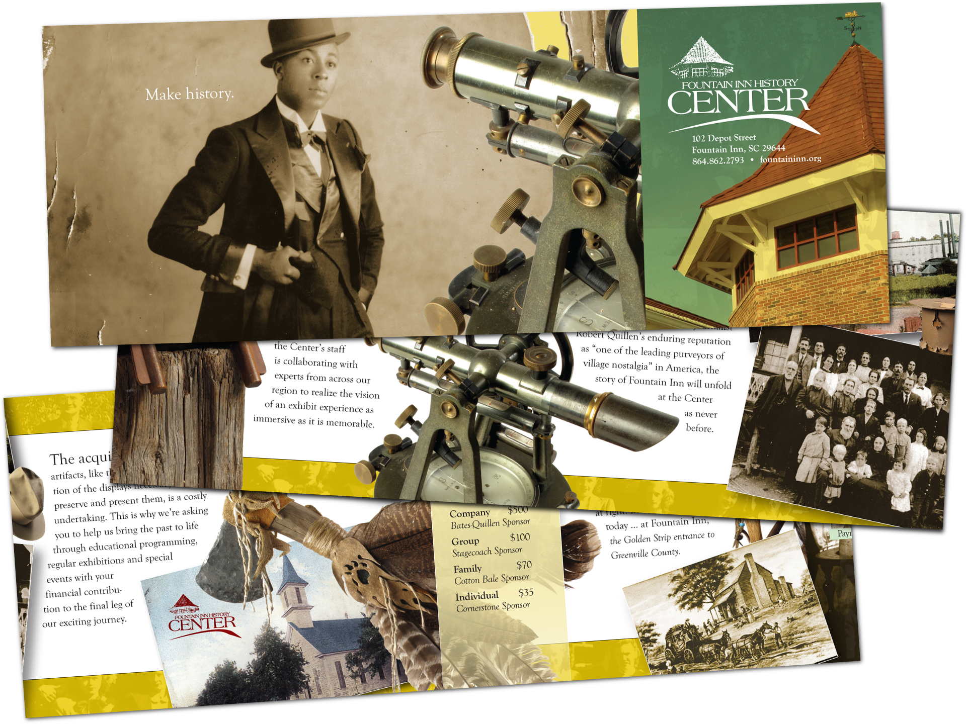 Artifact photography and layout for roll-fold museum brochure