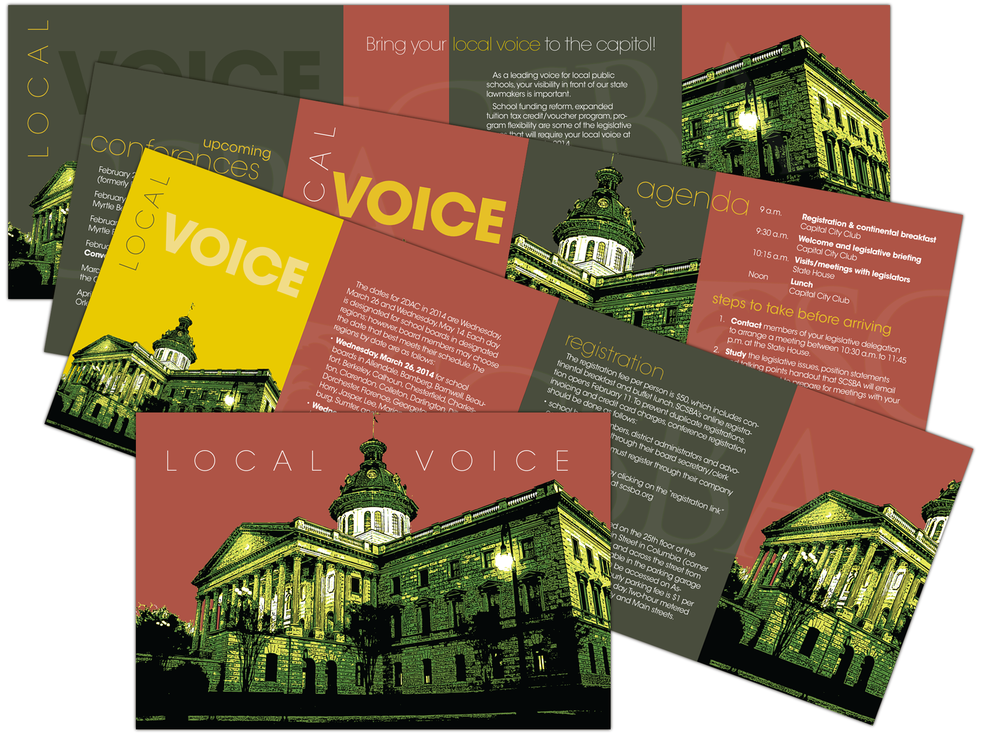 Concept and layout for 12-page advocacy self-mailer